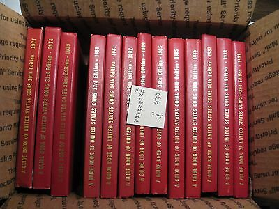 12 Vintage Red Book of U.S. Coins books. 1977 to 1989.