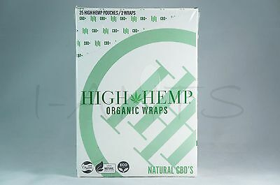 1 Box 25 Pouches(50 wraps) High Hemp Organic Wraps GMO-FREE