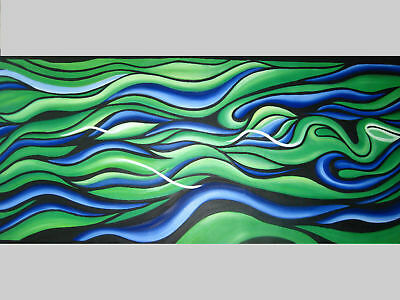 Abstract Art Painting By Jane COA Authentic Aboriginal Large Canvas