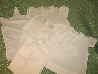 Lot of 4 Antique Baby-Doll Bear Dress~Petticoat Embroidery Lace Christening #2