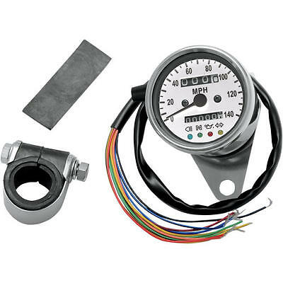"DS 2.4"" Mini Mechanical Speedometer With LED 2240:60 White Face"