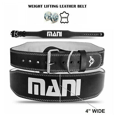 """Weight Lifting Belts Leather 4"""" Wide Back Support Training Gym Fitness Belt"""