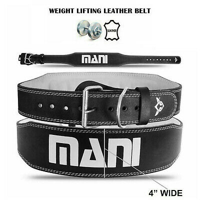 """Weight Lifting Leather 4"""" Wide Belt Training Back Support Gym Fitness Belt"""