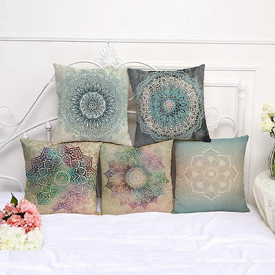 Square Cotton Linen Cushion Cover Throw Pillow Case Home Decor Flower Pattern