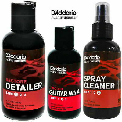 Planet Waves Guitar Restore Detailer Wax Polish Cleaner Pack 3 Step Care Pack