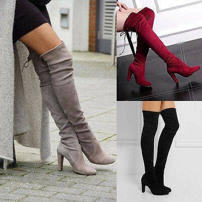 Womens Ladies Suede Thigh High Over The Knee Boots Pull on Low Heel Slouch Shoes