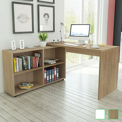 Corner Desk 4 Shelves Computer Office Home Study Table Furniture Oak/White