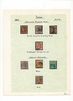 India Stamps Of 1865 With Interesting Cancels ...cat £60 Approx...8 Stamps