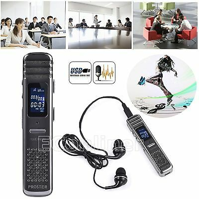 Digital LCD Voice Recorder Audio MP3 Player Spy VOR Dictaphone Steel 8GB Flash