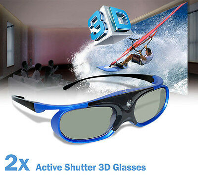 2x Universal Active Shutter 3D Glasses 144Hz For 3D DLP Projector Acer BenQ Sony