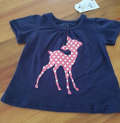 Brand new baby girls Cotton On T shirt Tee Top navy red size 00 3 to 6 months