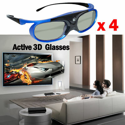 4x Active Shutter 3D Glasses For DLP 3D Projector BenQ Sony Battery Rechargeable