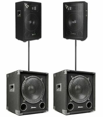 IMPIANTO AUDIO PASSIVO 2400W subwoofer + 2 satelliti + 2 stativi NO AMPLIFICATO
