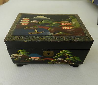 Vintage Oriental Lacquered Musical Jewellery Box  Japanese?
