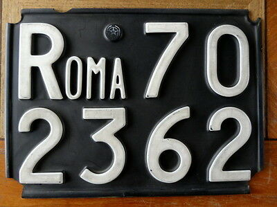 Genuine ROMA ITALY license plate CAPITAL CITY Rome VINTAGE Black Series 702362