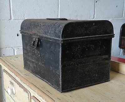 Lovely Small Antique Vintage Metal Storage Box Chest Tin