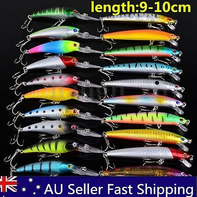 Bulk 20X Mixed Minnow Baits Fishing Lures Bass Crankbait Treble Hook Fish Tackle