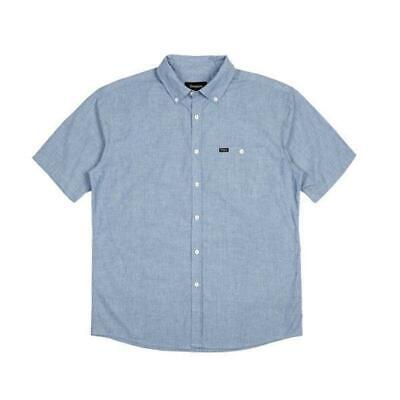 Brixton - Central SS Woven Short Sleeve Shirt - Light Blue Chambray Clothing