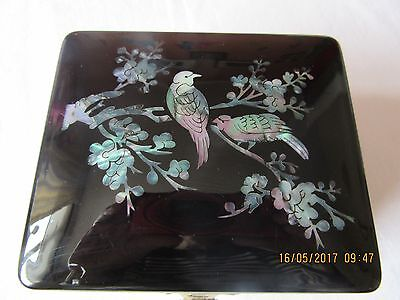 Beautiful vintage Japanese trinket box with delicate bird and cherry blossom