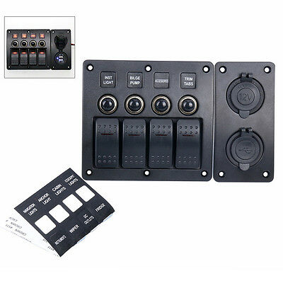 Awesome! 12V 4 Gang Waterproof Red LED Rocker/Circuit Breaker Switch Panel