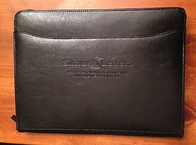 Leed's Leather Zip Around Portfolio - Black - Simon Lever - Item #1000-10 - EUC!
