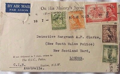 Australia 1953 Ohms Police Cover With 5 Stamps Perfin G Nsw To Scotland Yard