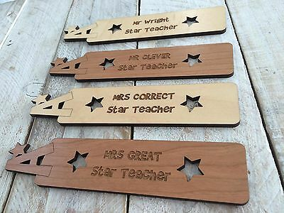 A* Teacher Personalised Wooden Bookmark