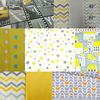 "Chevron Grey/Yellow ZigZag Material 100%Cotton Fabric Sewing Craft over 63""Wide"