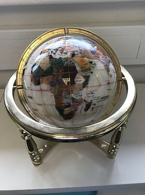 Tabletop Revolving World Globe On Gold Stand With Compass