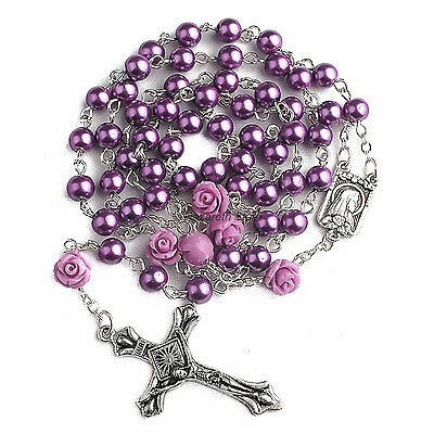 Catholic Purple Pearl Beads Rosary Necklace 6pcs Our Rose Lourdes Medal & Cross
