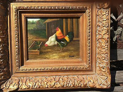 Oil Painting Hen and Rooster on wood with ornate gold frame