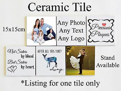 Personalised Ceramic Tile Any Photo Text Logo or Design Present Gift Family Home