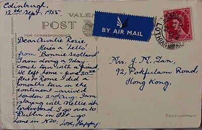 Great Britain 1955 Edinburgh Picture Post Card Sent Airmail To Hong Kong