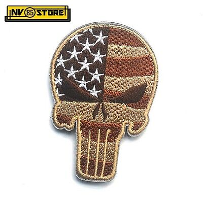 Patch Ricamata SKULL Sniper Punisher USA 9 x 6 cm Militare Velcrata Coyote Tan