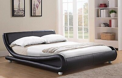 Double Bed Faux Leather King Size Frame Modern Italian Designer Bed and Mattress