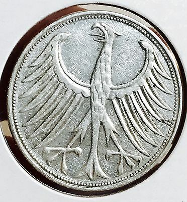 1951-F Germany Silver 5 Mark. Nice Collector Coin For Your Collection
