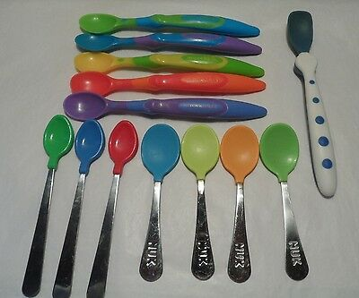 Nuk, Munchkin, Api Baby China, 13 Pc. Lot Of Soft Tip  Spoons