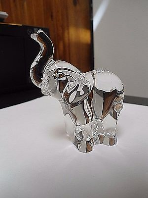 """Clear Crystal/Glass Elephant Paperweight Trunk Up 2 1/2"""" x 3 3/4"""""""