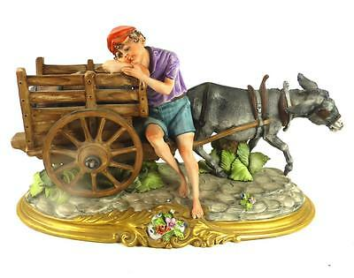 Viertasca Hand Painted Capodimonte Porcelain Figure Group Boy & Donkey Cart