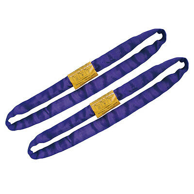 2 PCS Endless Round Lifting Sling Heavy Duty Polyester Purple 2'