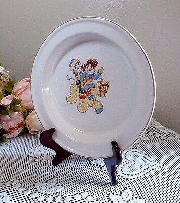 Vintage 1940's Raggedy Ann & Andy Pony ~ Rimmed Child's Plate Crooksville Ohio