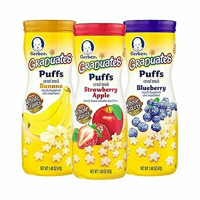 Gerber Graduates Puffs Cereal Snack Assorted Flavors 1.48 Ounce 6 Count Food