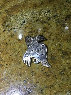 Native Pacific NW Coast Sterling Silver Raven Totem Pendant Brooch Pin Large