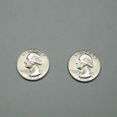 Silver 1964 and 1964-D Washington Quarters in AU++