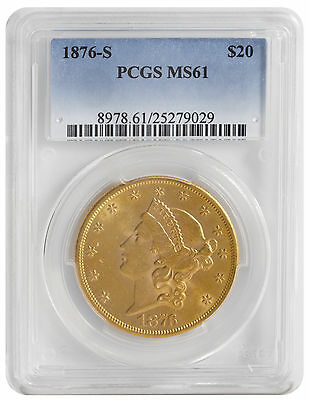 1876-S $20.00 Gold Liberty MS61 PCGS (#029)