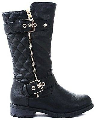 Infant and Kids Girls Dual Buckle/Zipper Quilted Mid Calf Motorcycle Boots
