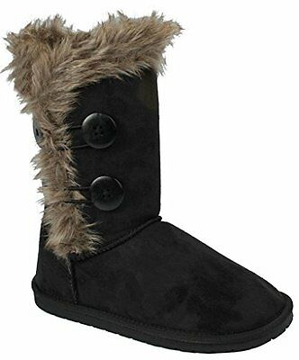 Women & Kids Wooden Button Soft Faux Fur Lined Shearling Mid Calf Snow boots