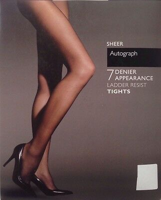 TIGHTS M&S 7 Denier AUTOGRAPH Ladder Resist S M L XL Natural Tan Black Cocoa NEW