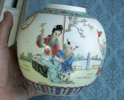 Old Vintage Chinese Porcelain Export Ware Famille Rose Enamel Ginger Pot China