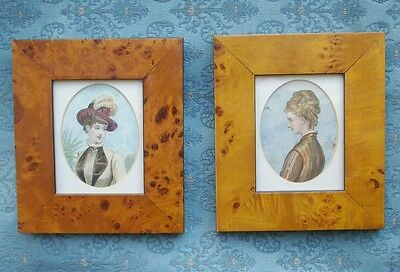 Old 2x Antique French Miniature Portrait Engraving Lady Watercolour Detail 1883